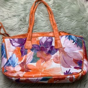 Maurizio Taiuti Orange/Purple Floral Leather Tote
